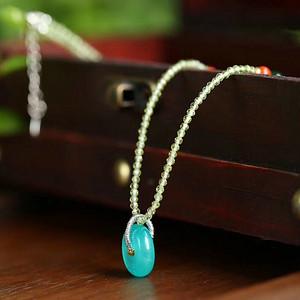 天然橄榄石搭配天河石锁骨项链