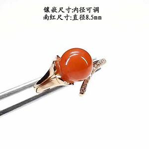 天然南红玛瑙戒指 银镶嵌3375