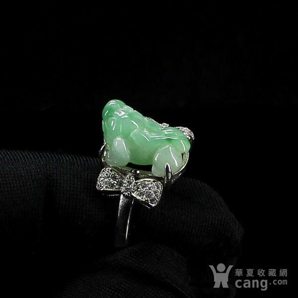 满绿翡翠招财貔貅戒指 银镶嵌2795图2