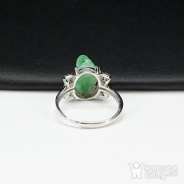 满绿翡翠招财貔貅戒指 银镶嵌2795图6