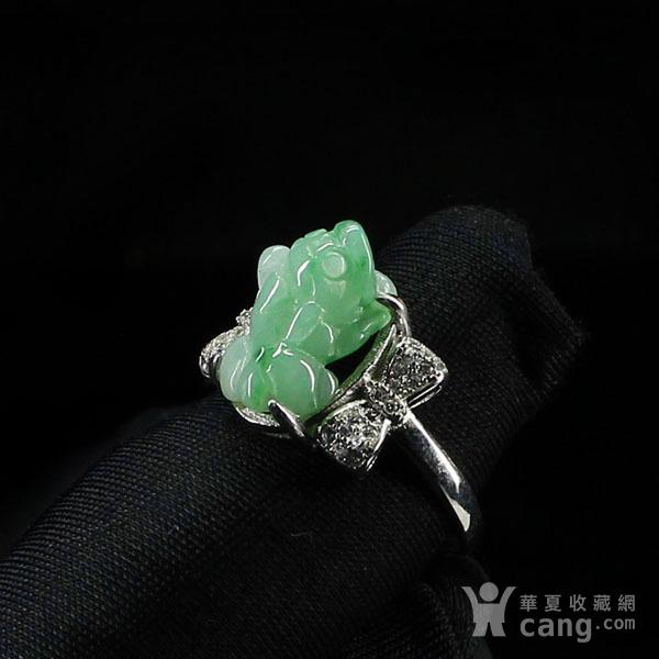 满绿翡翠招财貔貅戒指 银镶嵌2795图5