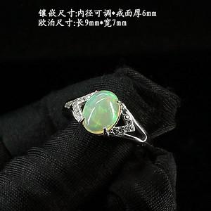 天然欧泊戒指 银镶嵌6591