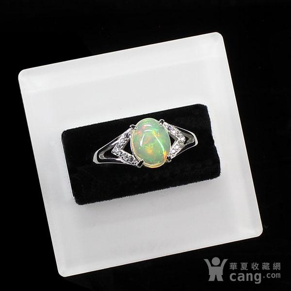 天然欧泊戒指 银镶嵌6591图2