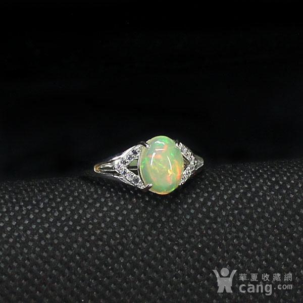 天然欧泊戒指 银镶嵌6591图5