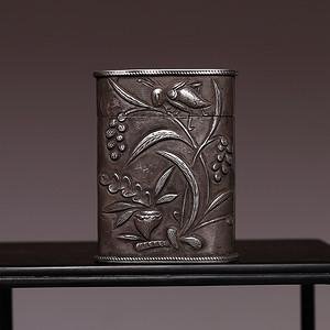 藏海淘 福曾款花卉小银盒 HX09