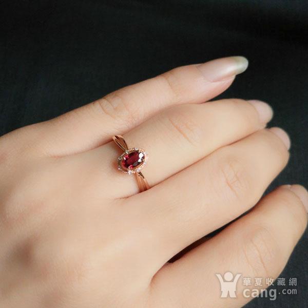 18K玫瑰金镶钻天然红宝石戒指6580图5
