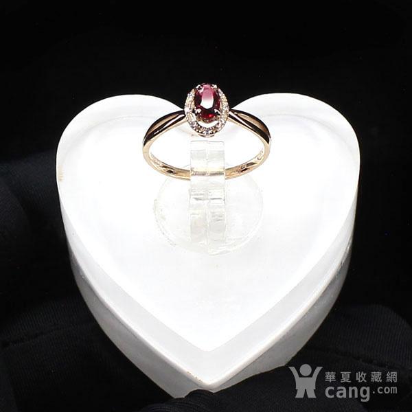 18K玫瑰金镶钻天然红宝石戒指6580图6