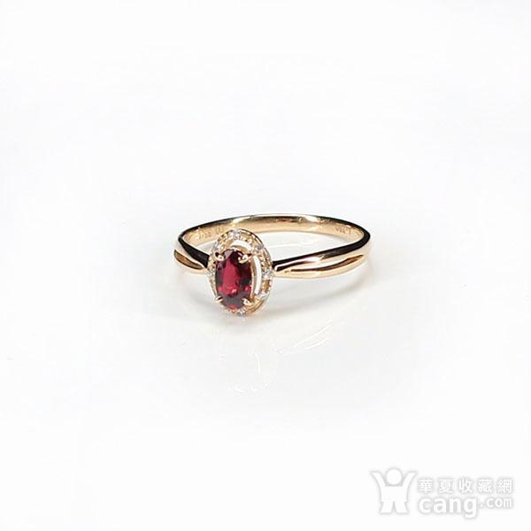 18K玫瑰金镶钻天然红宝石戒指6580图2
