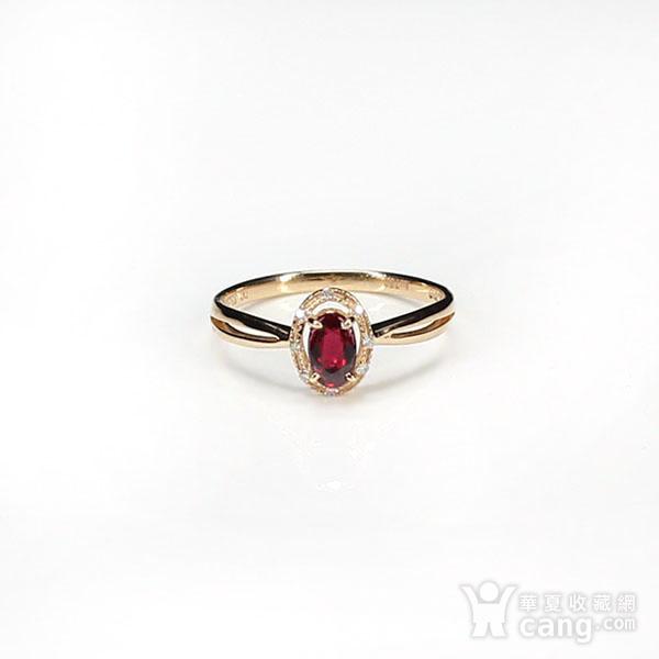 18K玫瑰金镶钻天然红宝石戒指6580图7