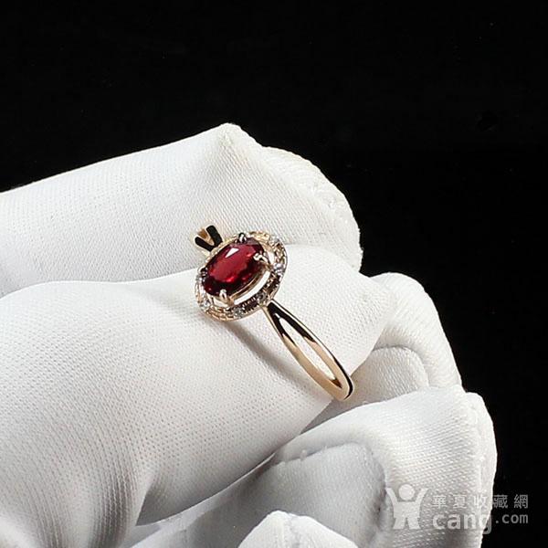 18K玫瑰金镶钻天然红宝石戒指6580图4