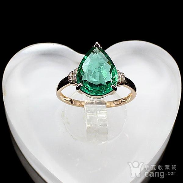 18K玫瑰金镶钻天然祖母绿戒指6582图2