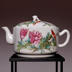 藏海淘 专家已鉴定 清晚期粉彩花鸟纹茶壶 HX29