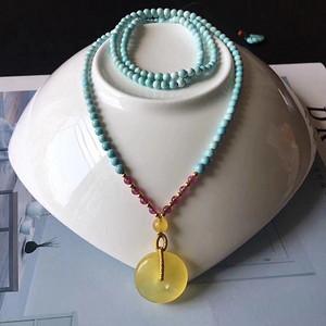 天然原矿绿松石项链搭配蜜蜡平安扣假一赔万