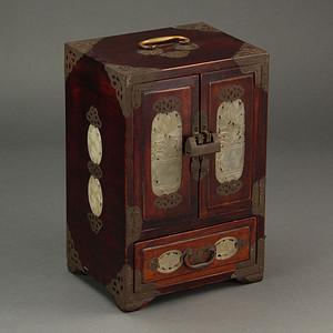 联盟 红木,嵌玉,带锁,首饰箱