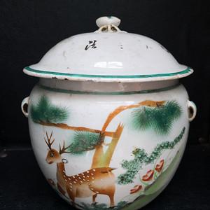 民国刷花松鹿纹粥罐