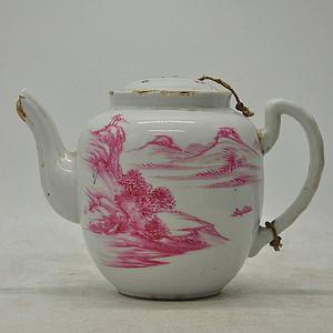 粉彩老茶壶 有残