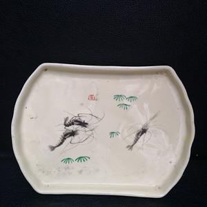 文革 墨彩虾纹茶盘