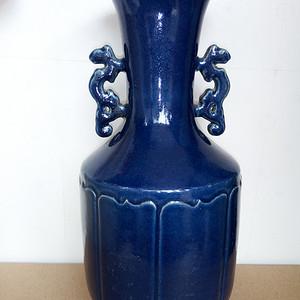 联盟 清晚:宝石兰釉双龙耳瓶