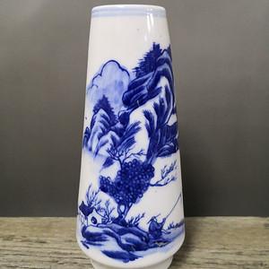民国 立仁窑青花山水玉米瓶