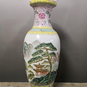 欧洲回流 70年代艺术瓷厂粉彩山水赏瓶