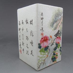 115.民国 粉彩松鹤延年方笔筒
