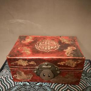 欧洲回流 晚清牛皮髹漆首饰盒