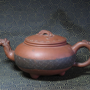 清代三兽蠡龙紫砂壶