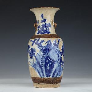 清代43.8cm富贵长寿哥釉大瓶