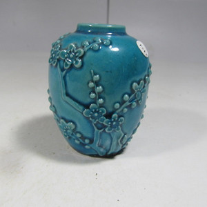 民国孔雀蓝釉小罐