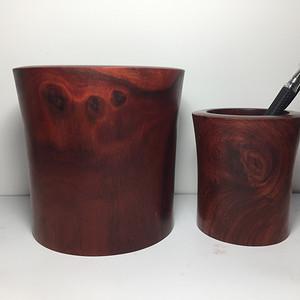 联盟 非洲紫檀笔筒2件套