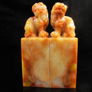 收藏精品 漂亮结晶寿山芙蓉鱼籽冻石对章