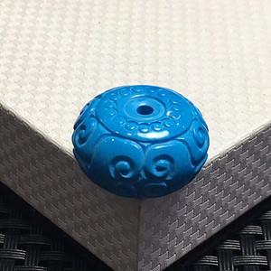 联盟湖北十堰顶级云盖寺高瓷蓝绿松石精工雕刻回纹平安扣
