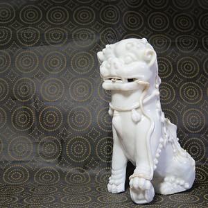 明末清初德化瑞狮塑像