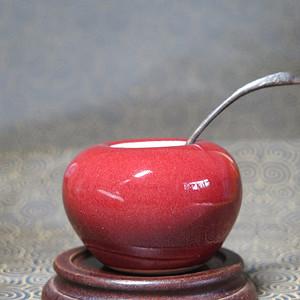 民国红釉水盂