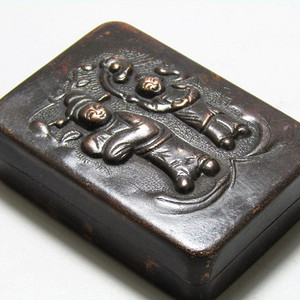 清带款 紫铜打造 墨盒  手工崭刻包浆厚重