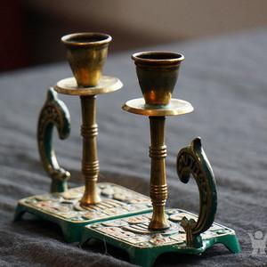 520 以色列传统纯铜錾花烛台