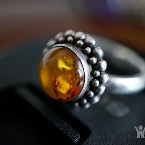 波罗的海925老银琥珀戒指