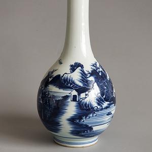 青花山水人物天球瓶