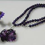 出口创汇时期的紫晶项链带雕花坠