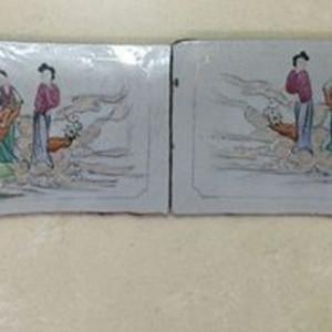 《520》民国时期粉彩手绘郭子仪遇仙纹饰的大瓷板一对
