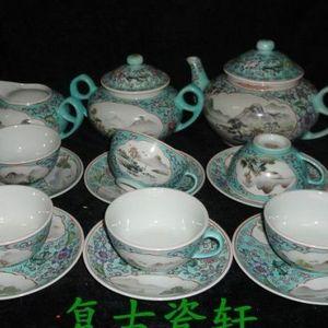 《520》上世纪六七十年代景德镇粉彩手绘开光山水风景纹15茶具一套