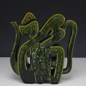 清代 福 字 瓷雕塑 茶壶