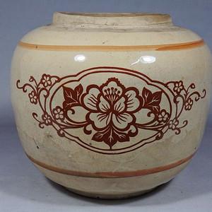 文革时期花卉绘画罐