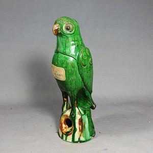 民国绿釉鹦鹉塑像
