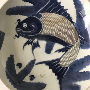 520雍正青花釉里红鱼盘