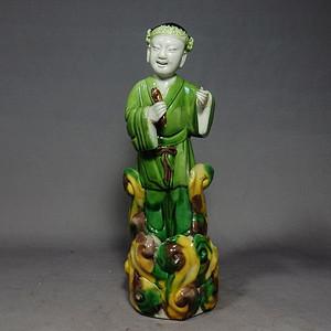 清代素三彩人物塑像