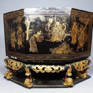 清代木雕鎏金漆器佛龛