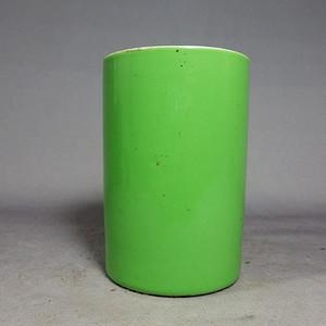 晚清苹果绿釉笔筒