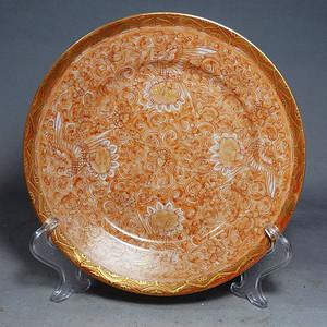 九谷时期矾红描金绘画折腰盘