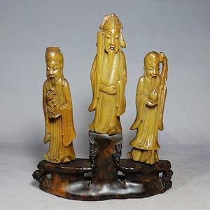 清代寿山石三星人物雕刻摆件